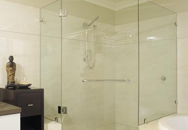 FRAMELESS GLASS SHOWER SCREEN DOOR & RETURN