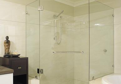 FRAMELESS GLASS SHOWER SCREEN DOOR & RETURN
