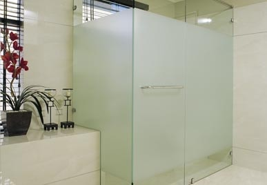 FRAMELESS GLASS SHOWER SCREEN WITH PRIVACY SECTION