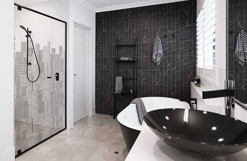 Black Shower Screen Frame with Print