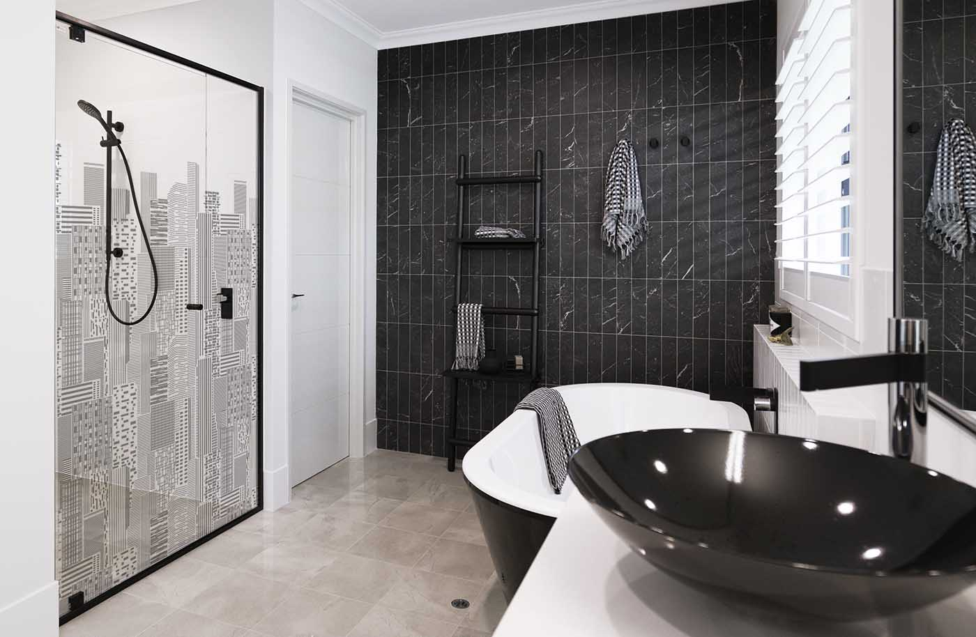 Printed Black Shower Screen