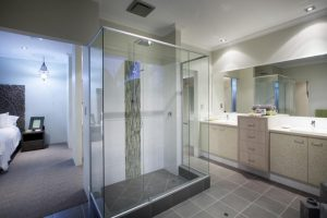 Matt Silver Framed Profile Semi Frameless Shower Screen with Returns either side