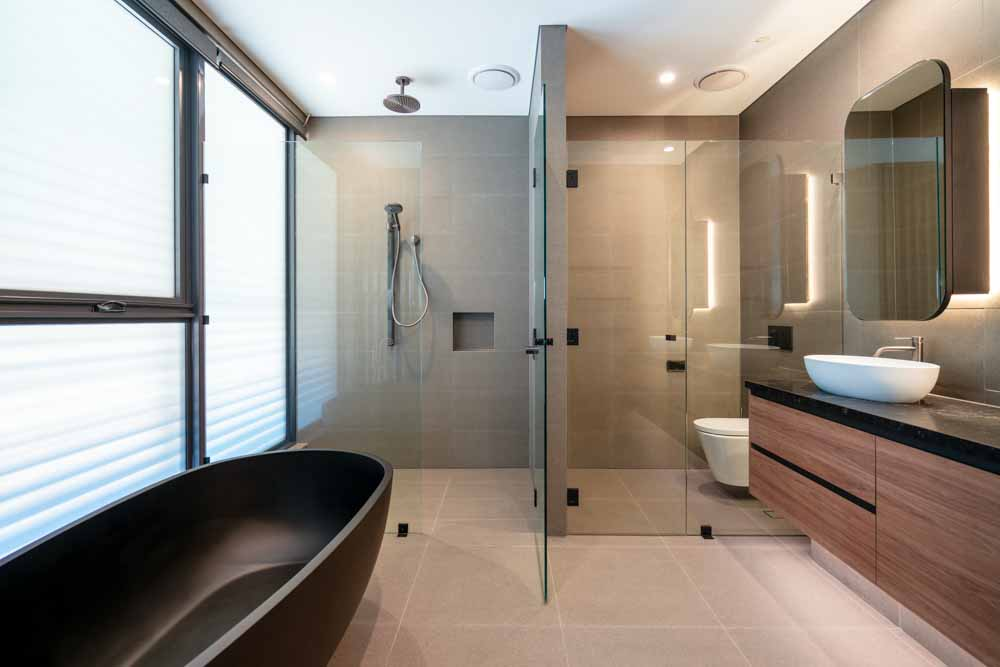 Frameless Glass Shower Screens with Illuminated Mirrors Coogee Beach