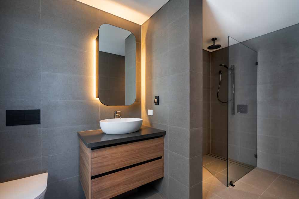 Illuminated Mirror and Frameless Shower Screen Coogee Beach